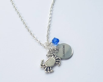 """CLAWSOME crab charm necklace   Charm necklace on 18""""  silver finish chain."""