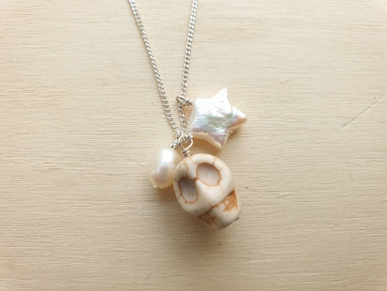 Howlite Skull Bridal Necklace on sterling silver chain with image 0