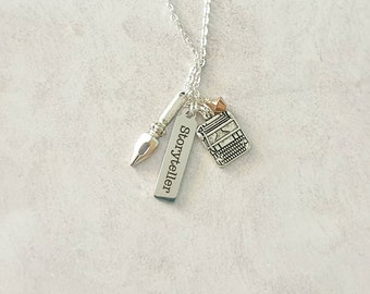 Storyteller necklace| Charm necklace with typewriter and pen charms.  Writer gift