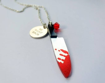 Be Right Back  Charm necklace inspired by slasher movies.