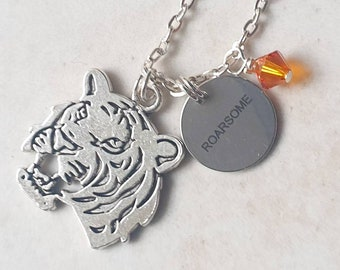 """ROARSOME tiger charm necklace   Charm necklace on 18""""  silver finish chain."""