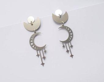 Luna Stardrop  Moonphase earrings   Long Statement Earrings