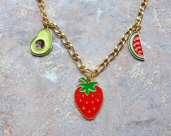 """Fruit salsa red and green fruit charm necklace with strawberry, avocado and watermelon  Charm necklace on chunky 18"""" gold finish chain"""