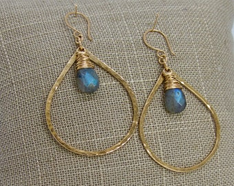 Large Hammered Gold Filled Hoops, Labradorite Hoop Earrings, Gemstone Hoop Earrings,Gold Filled Labradorite Earrings, Talia Serinese Jewelry