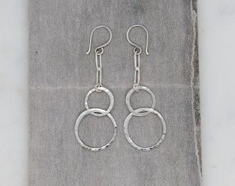 Hammered Hoops Chain Earrings, Silver Paperclip Chain Hoop Earrings, Hammered Sterling Silver Hoop Earrings, Talia Serinese Jewelry