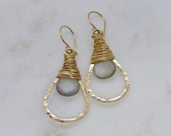 Grey Moonstone Gold Hoop Earrings, Hammered Gold Gemstone Hoops, Grey Moonstone Earrings, Gray Gemstone Earrings, Talia Serinese Jewelry