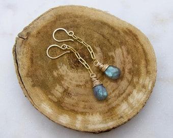 Gold Chain Labradorite Dangle Earrings, Wrapped Labradorite Earrings, Gray Gemstone Gold Chain Earrings,Talia Serinese Jewelry