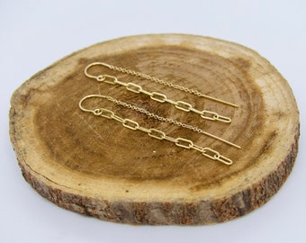 Paperclip Chain Threader Earrings, Gold Link Chain Threader Earrings,Dainty Threader Earrings, Minimalist Threader Earrings, Talia Serinese