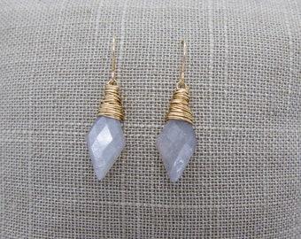 Grey Moonstone Gemstone Drop Earrings, Gold Wrapped Grey Moonstone Dangle Earrings, Talia Serinese Jewelry