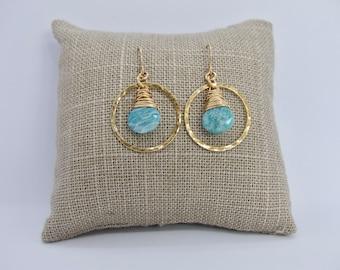 Amazonite Gold Hoop Earrings, Hammered Hoop Earrings,Blue Gemstone Earrings, Amazonite Gemstone Dangle Earrings,Talia Serinese Jewelry