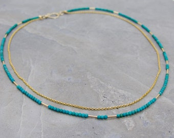 Layered Turquoise And Gold Chain Necklace, Double Strand Turquoise And Gold Necklace, Handmade Turquoise Necklace, Talia Serinese Jewelry