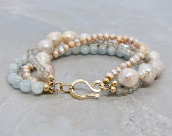 Multi-Strand Freshwater Pearl And Gemstone Bracelet, Gemstone And Pearl Bracelet, Handmade Gemstone Bracelet, Talia Serinese Jewelry