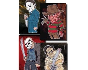 Quartet of Evil - 5 x 7 Print Set Halloween Chainsaw Nightmare on Friday the 13th - Digital Prints