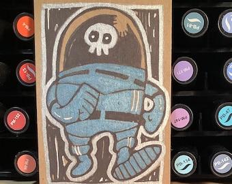 Original Sketch Card - Kooky Space Kook -Halloween Art ACEO