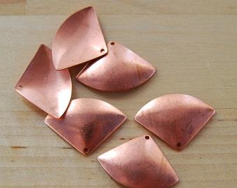 6 Copper Fan Blanks, drilled