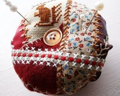 Crazy Quilt Pin Cushion -- Embroidered Cross Stitch Squirrel -- Made in Ireland