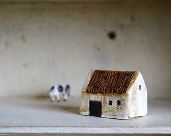 Miniature Irish Barn Hand Painted Paper Clay -- Handmade in Ireland