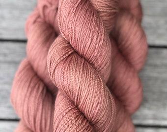 Hand-dyed Yarn Organic Rustic Sport Sport Weight Petit Four 328 yards 7030 GOTS Fine Organic Merino Wool  Hemp