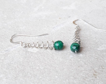 Green malachite and sterling silver wire drop earrings