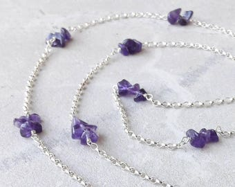 Amethyst necklace - extra long length - opera or rope - with sterling silver chain and purple gemstone