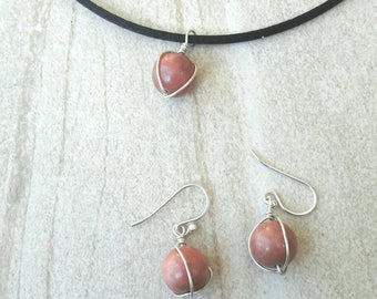 Delicate pink rhodonite stone sterling silver pendant necklace and earrings set