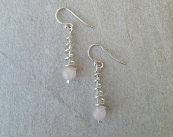 Ross quartz and sterling silver wire spiral drop earrings