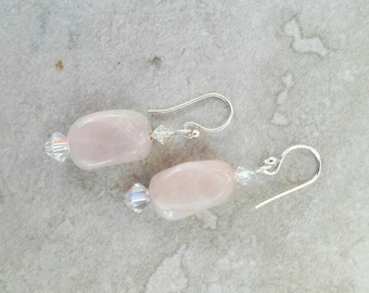 Rose quartz and white/clear crystal and sterling silver earrings
