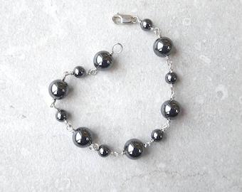 Hematite stone balls sterling silver bracelet