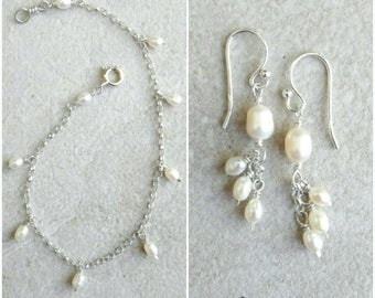 Set: bracelet and earrings in sterling silver and tiny, delicate white pearl drops - bridal wedding jewelry