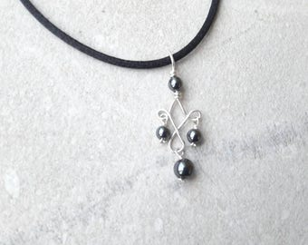 Hematite stone sterling silver pendant necklace on leather or satin