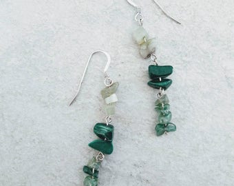 Green drop earrings - sterling silver, jade, malachite and agate