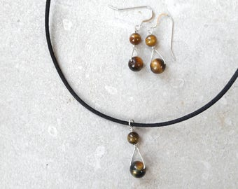 SET: tiger's eye and sterling silver wire drop earrings and pendant