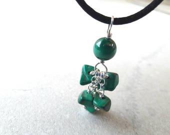Bright green malachite  chain drop pendant with sterling silver