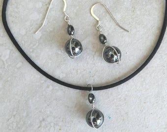 SET: Hematite stone sterling silver earrings and pendant necklace on leather or satin