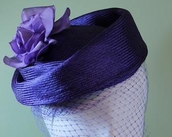 Purple Straw Cloche Hat - Purple Hat Veiling - Spring Summer Purple Straw Women's Hat - Women's Derby Ascot Hat - Free Shipping - OOAK