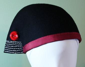 Black Wool Flared Beanie Hat - Black Wool Hat - Black Women's Hat - Black Cloche Hat - Black and Red Women's Hat - OOAK