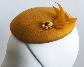Gold Wool Fascinator - Flowers, Feathers, Vintage Button - 1940s 1950s Style - Modern Elegance - Monochromatic - OOAK