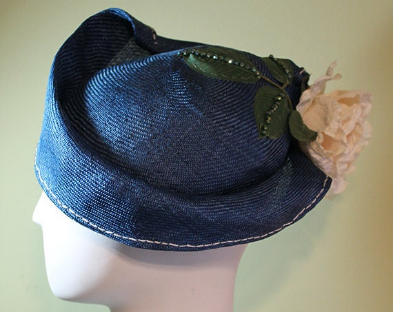 Blue Straw Hat - Blue Women's Straw Cloche Hat with Flower - Spring Summer Straw Women's Hat - Women's Derby Ascot Hat - OOAK