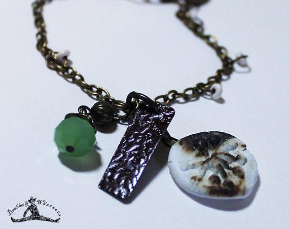 Charm Bracelet - Accessories - Boho Vintage Gold Ceramic Charm Bracelet - OOAK