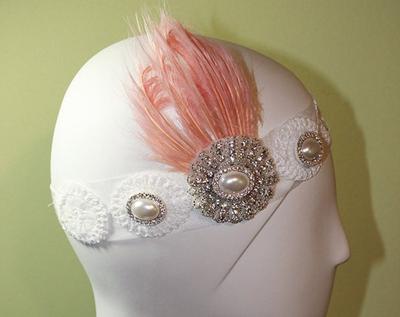 Bridal Headband - 1920s Style White Headband - Vintage Inspired - Flapper Headband - Wedding Headband - Pink Feather - OOAK