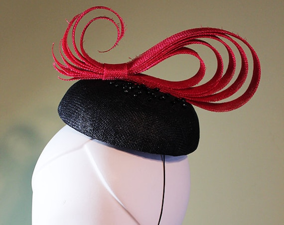 Beaded Fascinator - Red and Black Paisley Swirl - Unique Fascinator - Unique Summer Fascinator - Derby Fascinator - OOAK
