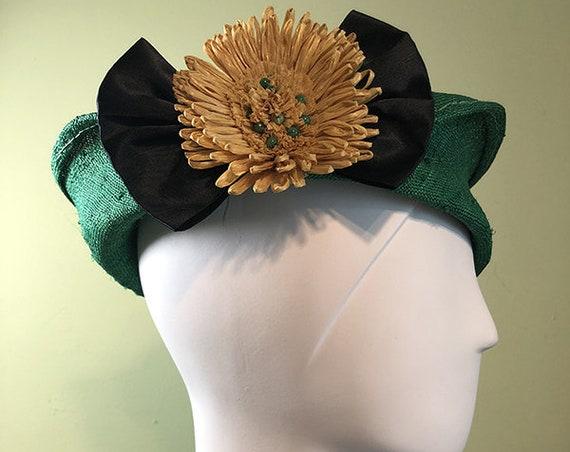 Straw Cloche Hat - Green Straw Hat with Vintage Yellow Raffia Flower - Spring Summer Straw Women's Hat - Women's Derby Ascot Hat - OOAK