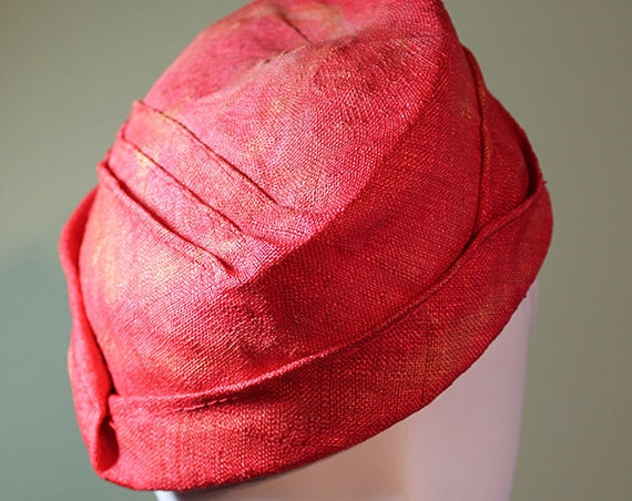 Straw Cloche Hat- Coral Red Women's Hat - Spring Summer Straw Women's Hat - Vintage Inspired Hat - OOAK