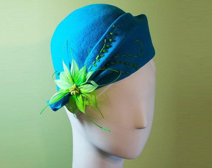 Aqua Cloche Hat - Women's Aqua Wool Cloche Hat - 1920s Style Women's Cloche - Unique Derby Cloche - OOAK
