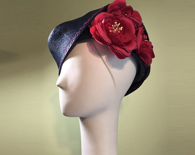 Straw Cloche Hat - Navy Blue Straw Hat - Hot Pink Flowers - Spring Summer Straw Women's Hat - Women's Derby Ascot Hat - Free Shipping - OOAK