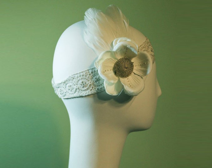 Bridal Headband - 1920s Style White / Cream Colored Headband - Vintage Inspired - Flapper Headband - Wedding Headband - OOAK