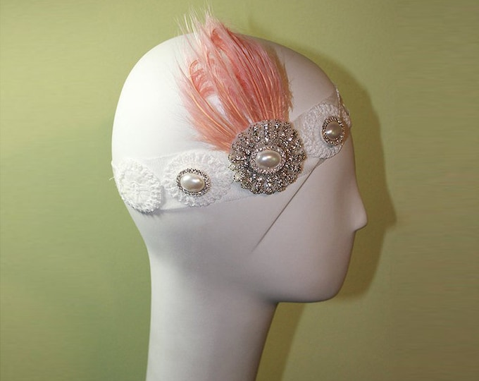 Bridal Headband - 1920s Style White Headband - Vintage Inspired - Flapper Headband - Wedding Headband - Pink Feather - OOAK