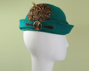 Teal Cloche - Women's Teal Sculpted Wool Feathered Cloche Hat - 1930s Style Women's Cloche - Unique Derby Cloche - Free Shipping - OOAK