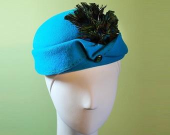Aqua Blue Cloche - Aqua Blue Wool Cloche Women's Hat Peacock Feathers - Aqua Blue Wool 1920s Style Cloche - OOAK