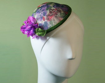 Flowered Fascinator - Purple & Red Flowered Fascinator - Flower Fascinator - Silk Flower Fascinator - OOAK